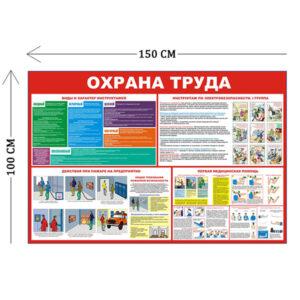 Стенд Охрана труда и действия при пожаре 100х150см (4 плаката)