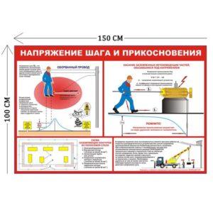 Стенд Напряжение шага и прикосновения 100х150см (1 плакат)