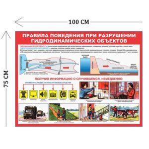 Стенд Правила поведения при разрушени гидродинамических объектов 75х100см (1 плакат)