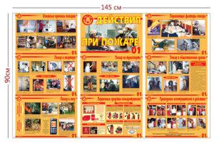 Стенд «Действия при пожаре» (9 плакатов)