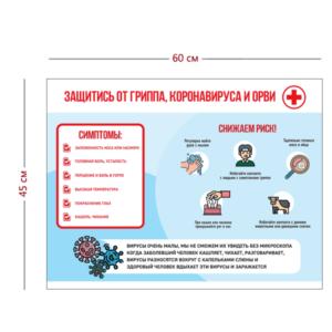 Стенд Защитись от гриппа, коронавируса, ОРВИ 45х60 см
