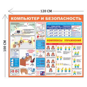 Стенд Безопасность работ за компьютером 100х120см (1 плакат)