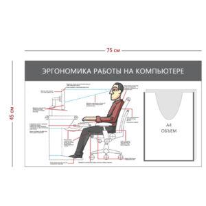Стенд «Эргономика работы на компьютере» (1 объемный Карман А4 +1 плакат)