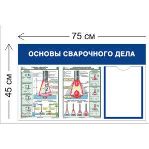 Стенд Основы сварочного дела 45х75см (1 карман А4 + 2 плаката)