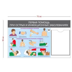 Стенд «Помощь при острых и инфекционных заболеваниях» (1 карман А4 + 1 плакат)