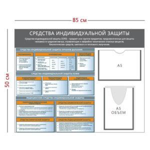 Стенд «Средства индивидуальной защиты» (1 карман А5 + 1 объемный Карман А5 + 1 плакат)