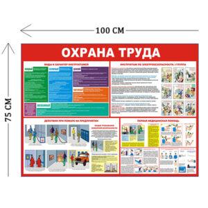 Стенд Охрана труда и действия при пожаре 100х75см (4 плаката)