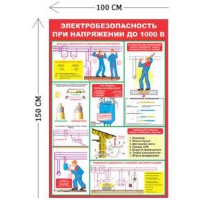 Стенд Электробезопасность при напряжении до 1000 В 150х100см (6 плакатов)