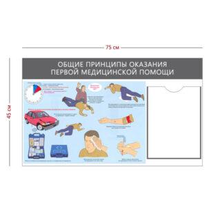Стенд «Общие принципы оказания первой медицинской помощи» (1 карман А4 + 1 плакат)
