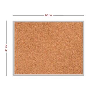 Стенд (пластик + пробковое полотно 45см х 60см + алюминиевая рамка) | информационная доска