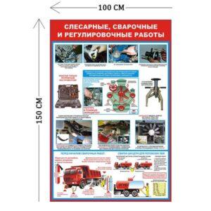 Стенд Слесарные, сварочные и регулировочные работы 150х100см (2 плаката)