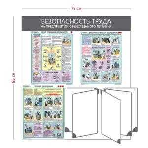Стенд «Безопасность труда на предприятии общественного питания» (3 плаката + перекидная система на 5 секций)