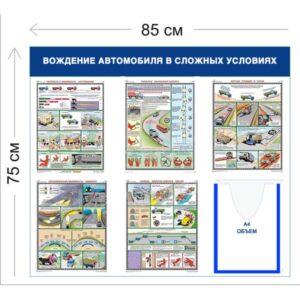 Стенд Вождение автомобиля в сложных условиях 75х85см (1 объемный карман А4 + 5 плакатов)