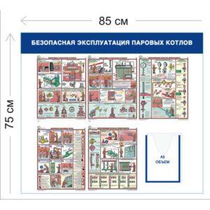 Стенд Безопасная эксплуатация паровых котлов 75х85см (1 объемный карман А5 + 5 плакатов)