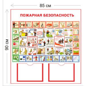 Стенд Пожарная безопасность 90х85см (2 кармана А4 + 1 плакат)