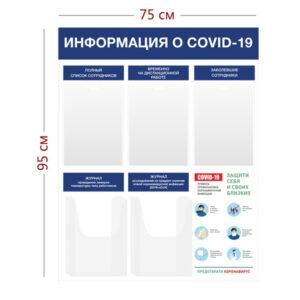 Стенд Информация о COVID-19 75х95 см (3 кармана А4 + 2 объ. кармана А4)