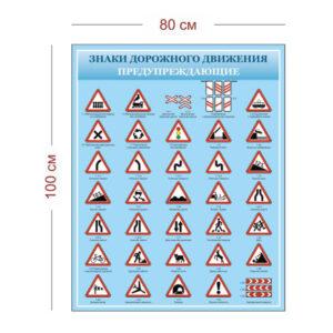 Стенд Предупреждающие знаки дорожного движения 80х100 см